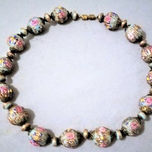 Vintage Colorful Wedding Cake Glass Beads Necklace